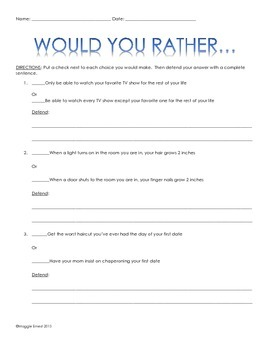 Would You Rather...Written Response