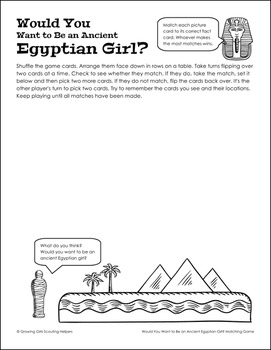 """Would You Want to Be...? Game - Girl Scout Juniors - """"Playing the Past"""" (Step 1)"""