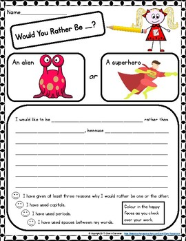 Writing Prompts - 80+ Student Writing Templates - Would Your Rather.....?