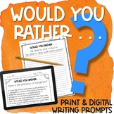 Would Your Rather Writing Prompts | Great Get to Know You