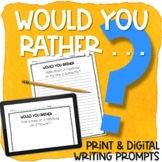 Would Your Rather Writing Prompts Print & Digital | FALL Writing