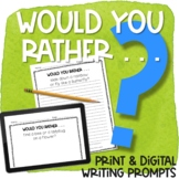 Would Your Rather Writing Prompts Print & Digital | Spring
