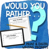 Would Your Rather Writing Prompts Print & Digital | WINTER