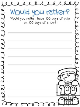 Would you rather? - 100th Day of School Writing Prompts