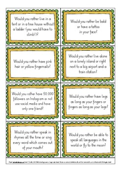 Would you rather ...? ESL / Fun English speaking game - laughs guaranteed!