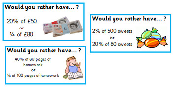 Would you rather? Fractions and Percentages comparison cards