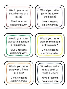 """Would you rather..."" Prompts to Support Opinion Writing"