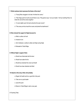 Wounded Wolf Comprehension Questions