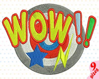 Wow Comic Book Embroidery Design super hero pop Word Art Speech Bubbles 146b