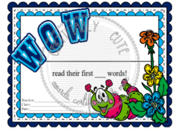 Wow! First Words Certificate