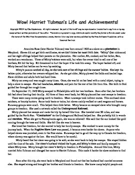 Wow! Harriet Tubman (with ELA questions and math word problems)