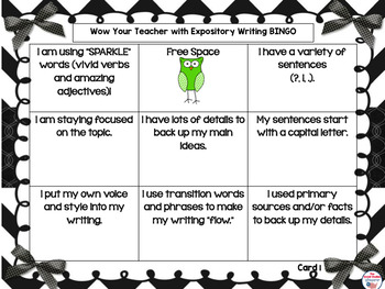 Expository Writing Strategies BINGO
