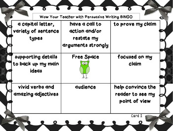 Persuasive Writing Test Prep BINGO