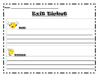 Wow and Wonder Exit Ticket
