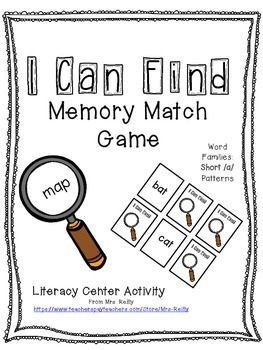 Word Family Memory Match - Short /a/ Word Patterns