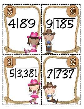 Wrangle Up Some Quotients! Division Task Cards (4th Grade Math TEKS)