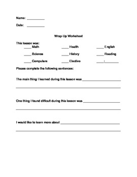 Wrap up worksheet