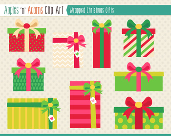 Wrapped Christmas Gifts Clip Art - color and outlines