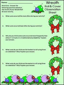 Christmas Math Activities: Wreath Roll & Cover Christmas Activity Bundle