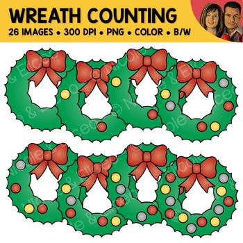 Wreath Counting Scene Clipart
