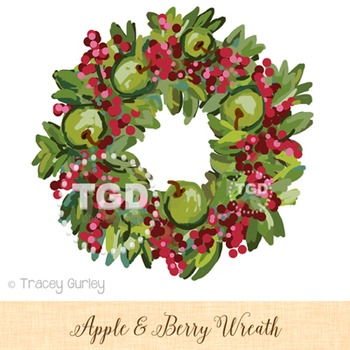Wreath clip art with Apples and Berries Printable Tracey Gurley Designs