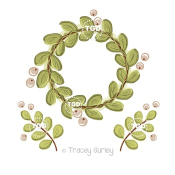 Wreath with Berries and Greenery set Printable Tracey Gurley Designs