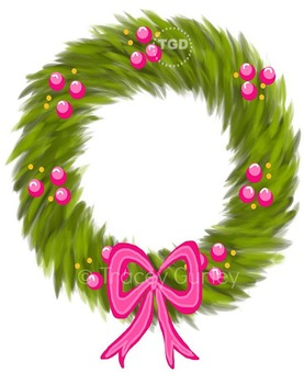 Wreath With Pink Berries And Pink Bow Clip Art Printable Tracey Gurley Designs