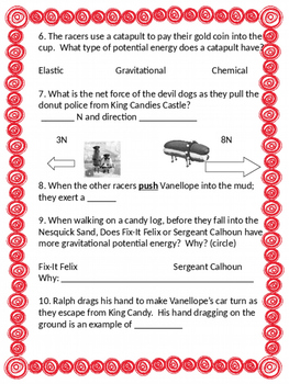 Wreck it Ralph Potential Energy Worksheets