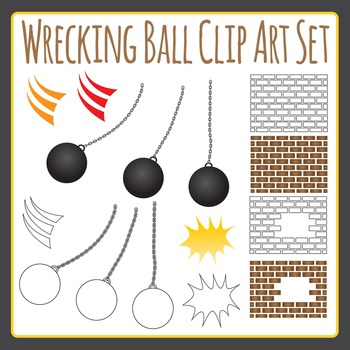 Wrecking Ball Clip Art / Demolishing Clipart Set for Commercial Use