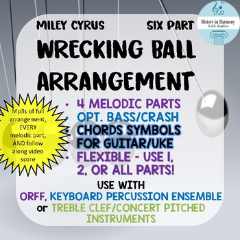 Wrecking Ball Pop Music Orff Arangement - Percussion Ensemble, Guitar, Ukulele