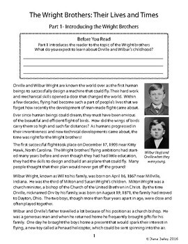 Wright Brothers Biography Informational Texts (Passages), Activities