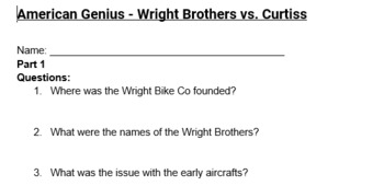 Wright Brothers American Genius  Guided Notes, Teachers Guide, & Study Guide