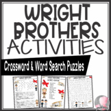 Wright Brothers Activities Crossword Puzzle and Word Search Find