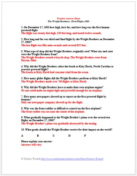 Wright Brothers First Flight 1903: Primary Source Worksheet