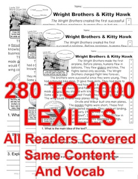 Wright Brothers & Kitty Hawk Close Read 5 Levels Info Text ALL-READERS-COVERED