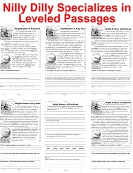 Wright Brothers & Kitty Hawk CLOSE READING 5 LEVELED PASSAGES Main Idea Fluency