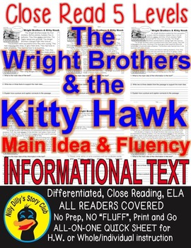 Wright Brothers & Kitty Hawk Close Read 5 Levels Info Text