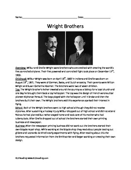 Wright Brothers - First in Flight - facts info Questions Vocabulary Activities