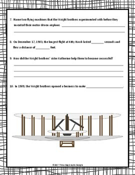 Wright Brothers Webquest - Internet Research Scavenger Hunt Activity Common Core