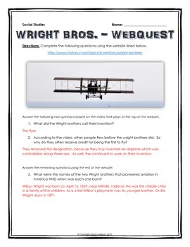 Wright Brothers - Webquest with Key (History.com)