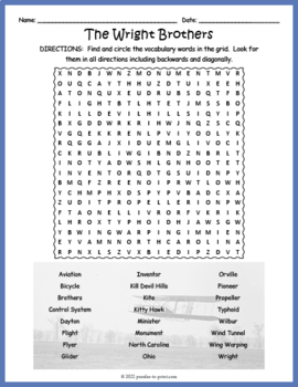 Wright Brothers Word Search Puzzle