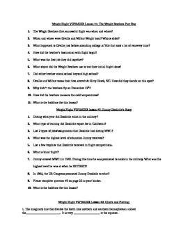 Wright Flight Voyager reading questions w/ answer key
