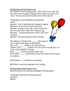 """""""Wringer"""" By Jerry Spinelli Reading Group Activity guide"""