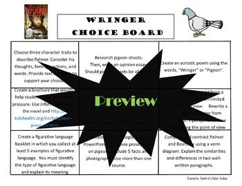 Wringer Choice Board Novel Study Menu Book Project Tic Tac Toe