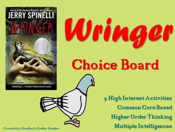 Wringer Choice Board Novel Study Menu Book Project Tic Tac Toe