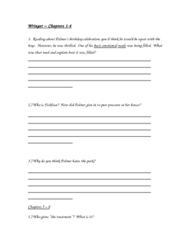 Wringer - Comprehension and Extened Response Questions