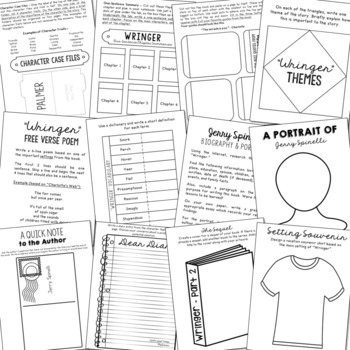 WRINGER by Jerry Spinelli Novel Study Unit Activities, In 2 Formats