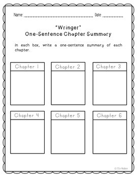 Wringer Novel Unit Study Activities, Book Companion Worksheets, Project