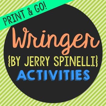 Wringer Novel Unit Study Activities, Book Report, Vocbulary