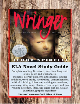 Wringer by Jerry Spinelli ELA Novel Literature Study Guide Complete!